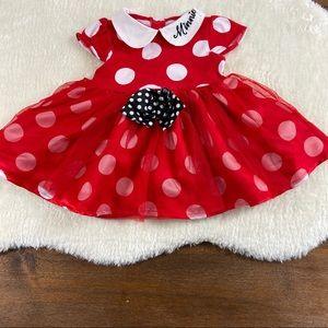 Disney Minnie red polka dot dress size 12-18 mo